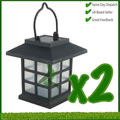 2 x solar hanging lanterns garden patio lighting