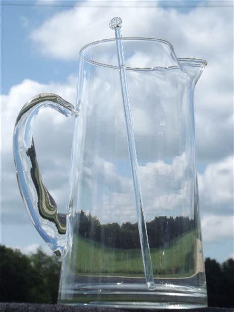 retro cocktail sangria pitcher  glass rod stirrer