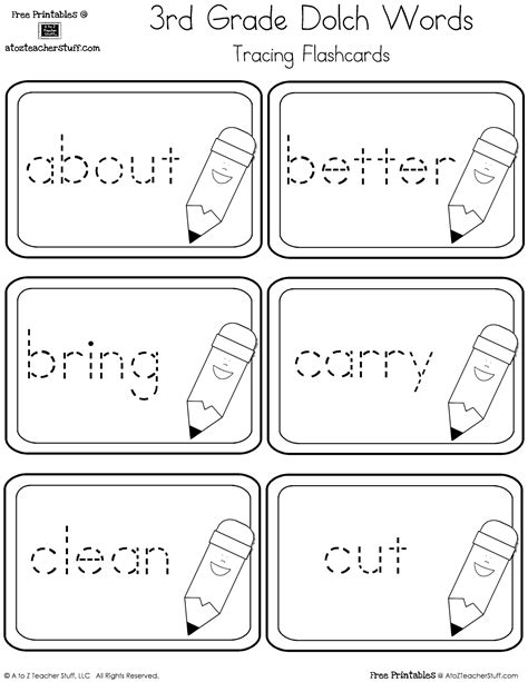 third grade dolch sight words tracing flashcards a to z