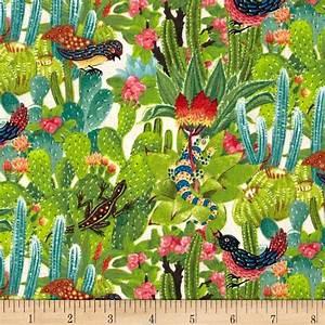 Los Cabos Allover Cactus Cream - Discount Designer Fabric