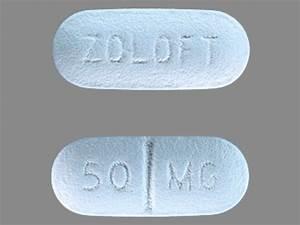 ZOLOFT 50 MG Pill Images (Blue / Elliptical / Oval)
