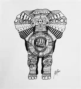 Black and White Indian Elephant Design