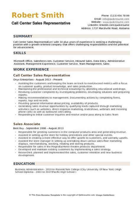Customer Service Call Center Resume Exles by Call Center Sales Representative Resume Sles Qwikresume