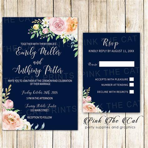 Wedding invitations navy blue blush pink floral & RSVP