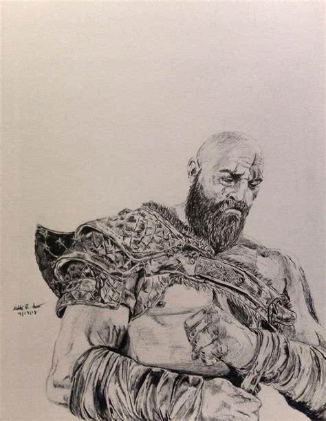 God Of War Kratos Pen Drawing Gaming God Of War
