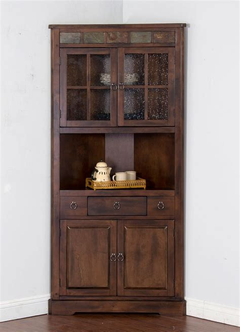 santa fe corner china cabinet sunny designs furniture cart