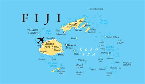 large map  fiji  cities fiji oceania mapsland