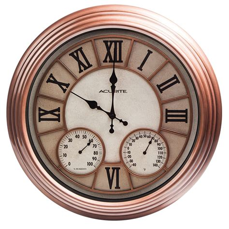18 inch copper metal outdoor clock with thermometer and