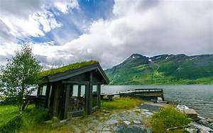 Norway river house nature wallpaper