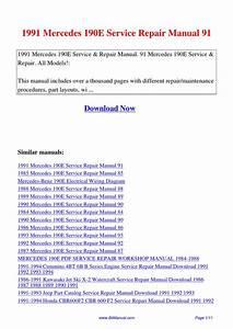 1991 Mercedes 190e Service Repair Manual 91 By Lisa Fu