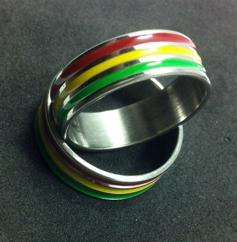 rasta stainless steel ring unisex silver tone yellow green color ebay