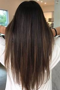 Brunette balayage ; straight hair ; brown highlights ...