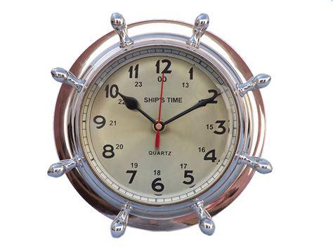 Buy Chrome Double Dial Porthole Wheel Clock 8 Inch Nautical