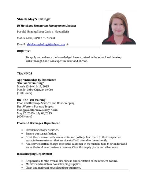 resume for hotel and restaurant management student 28
