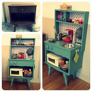 Diy cuisine enfants vintage un vieux meuble recupere et for Cuisine pour enfants