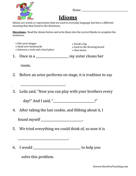 idiom worksheets teaching