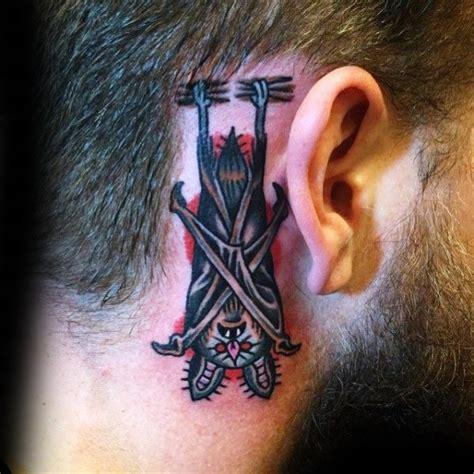 traditional bat tattoo designs  men  school ideas