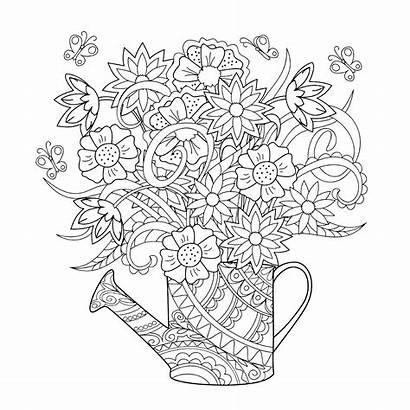 Watering Flowers Coloring Pages Fleurs Elegant Inside