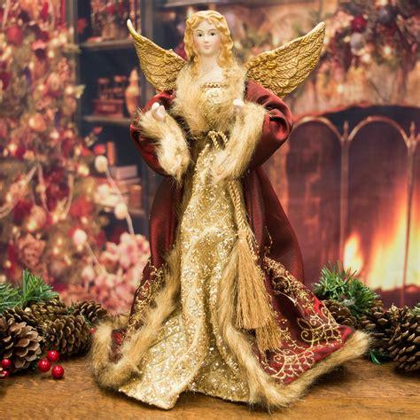 luxury angel christmas tree topper 36cm santa claus