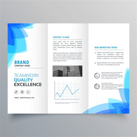 Free Templates For Brochure Design by Trifold Brochure Template Design With Abstract Blue Shapes