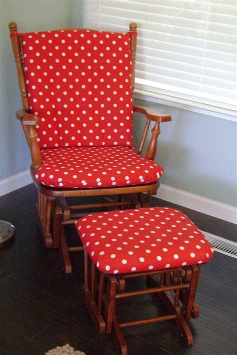red white polka dot glider cushions babys room ideas
