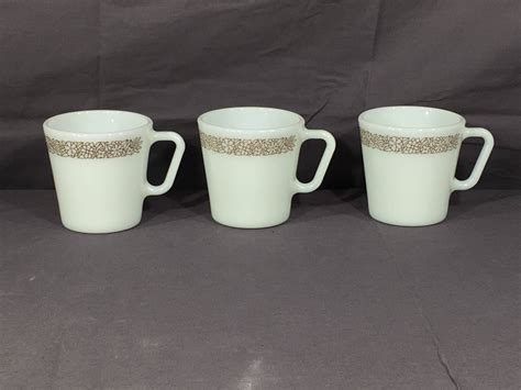 Top view coffee shop table. Vintage Pyrex Coffee Mugs (3), Woodland D Handle Cups ...
