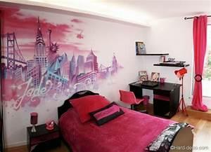 la deco chambre new york ado creative et amusante With gris bleu peinture 15 chambre fille deco chambre ado fille rock