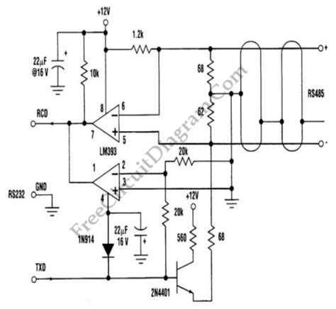 three wire rs232 to rs485 converter rs232 circuit diagram world