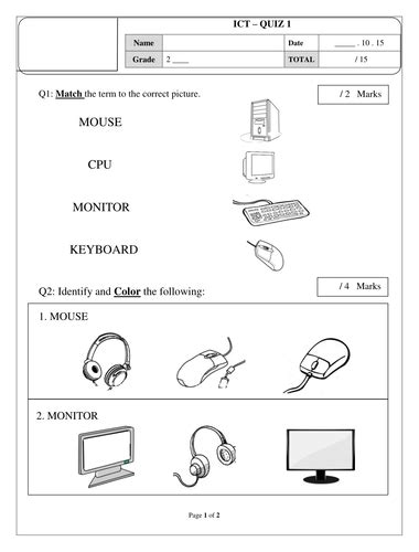 Parts of a computer worksheet | Info | Computer lab