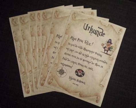 piraten urkunden piratenurkunde kindergeburstag