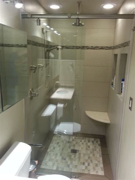 In The Shower - small bathroom with inset tile floor curbless shower