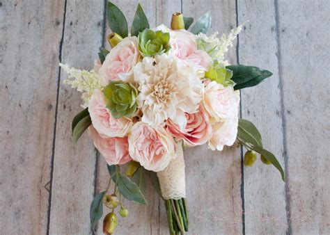 Boho Garden Rose And Dahlia Succulent Wedding Bouquet