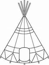 Teepee Tent Clipart Drawing Coloring Native Tipi American Indian Clip Tepee Pages Outline Pattern Crafts Quiet Sheets Printable Line Indians sketch template