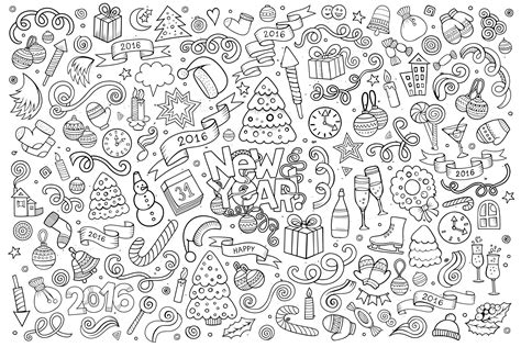 Coloring Doodle by Doodle Happy New Year 2016 Doodle Doodling