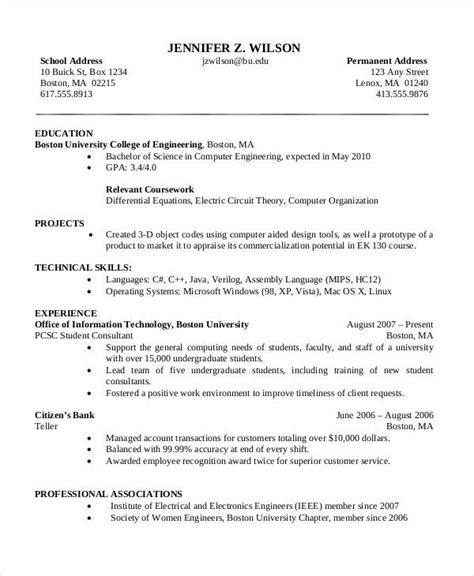 Science Resume by Computer Science Cv Templates Sle Resume Templates