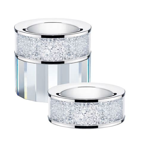 set of 2 swarovski filled tea light candle holders