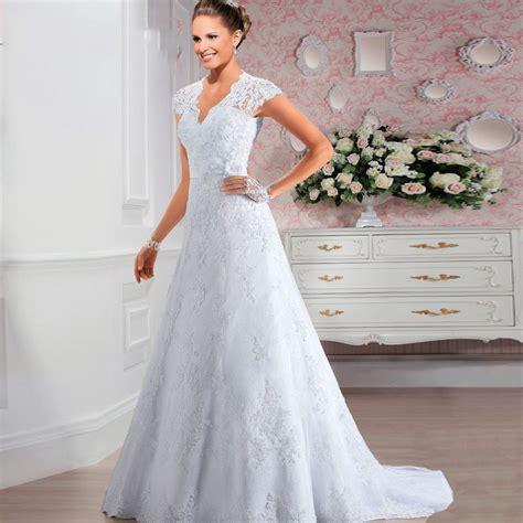 short cap sleeves  neck lace   wedding dress