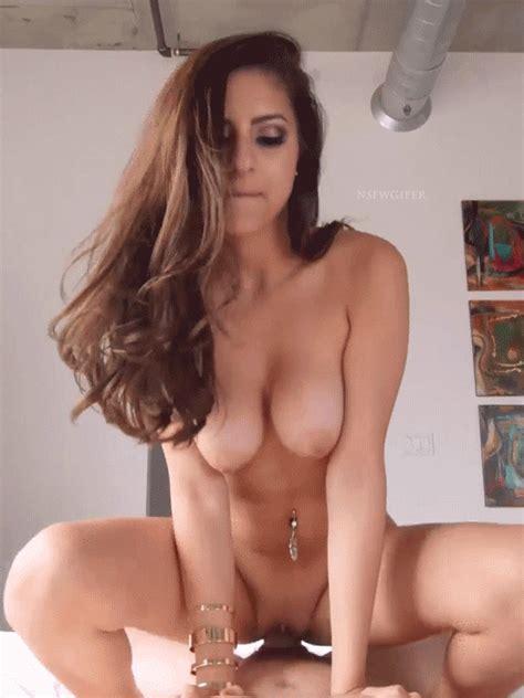 Brunette Hops On Cock
