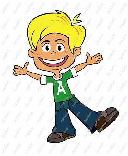 Boy Clipart Cartoon Happy Clip Excited Cliparts