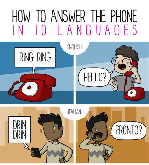 how to answer the phone comic how to answer the phone in 10 different languages