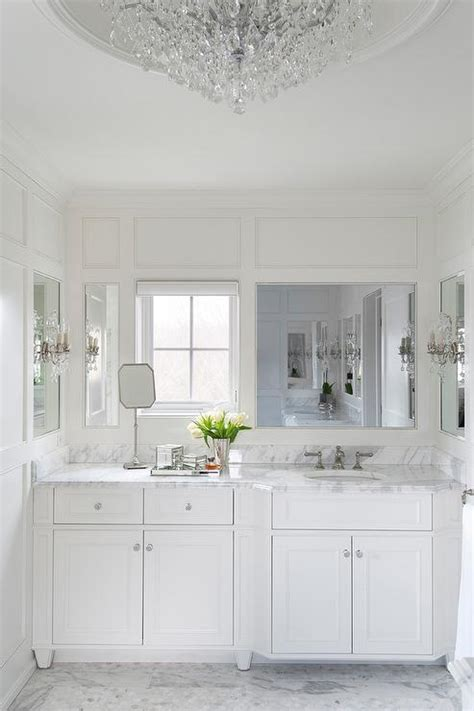 white french bathroom  calacatta marble transitional