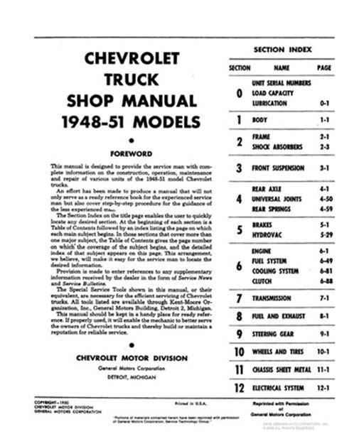 car maintenance manuals 1953 chevrolet corvette parking system 1948 1949 1950 1951 1952 1953 chevy pickup truck repair manual