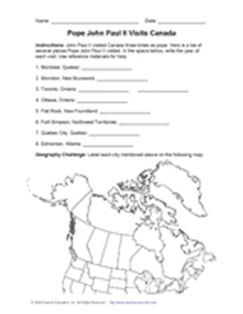 pope paul ii visits canada geography worksheet