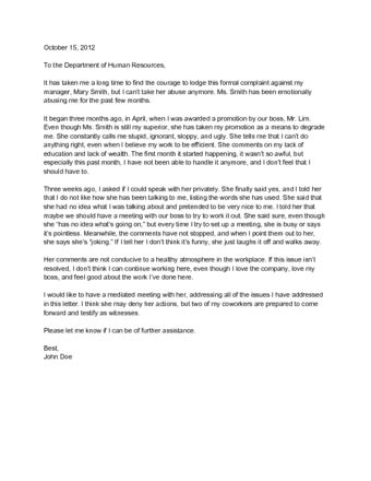ways  write  letter  complaint  human resources