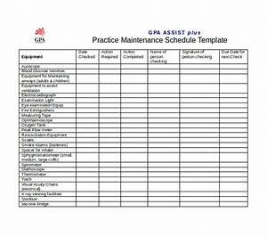 Equipment Maintenance Schedule Template Excel Schedule Template Free