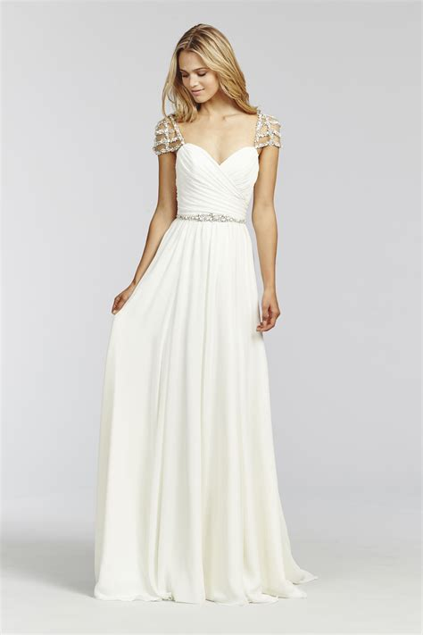 anouk 1656 ivory chiffon a line gown draped crossover