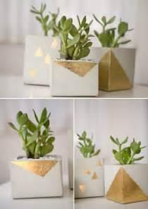 DIY Concrete Planter Gold Leaf