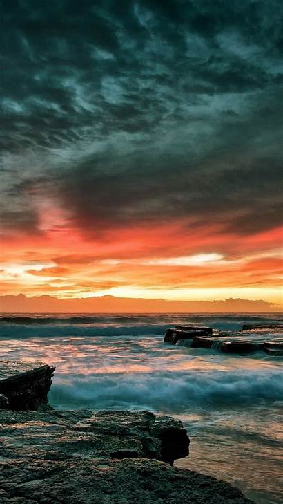 Iphone Phone Beach Wallpapers Rocky Mobile Dramatic