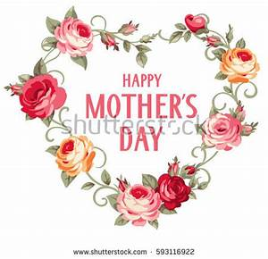 Happy Mothers Day Vintage Card Pink Stock Vector 604262855 ...