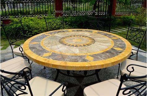 table ronde patio 49 quot outdoor patio garden table mosaic marble
